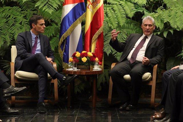 El presidente del Gobierno, Pedro Sánchez, se reúne con el presidente de Cuba, Miguel Díaz-Canel, en el Palacio de la Revolución en La Habana (Cuba)