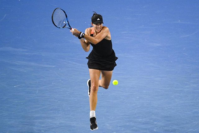 Garbine Muguruza of Spain in action during the Yarra Valley Classic - WTA 500 final match against Ashleigh Barty of Australia at Melbourne Park in Melbourne, Sunday, February 7, 2021. (AAP Image/Dean Lewins) NO ARCHIVING, EDITORIAL USE ONLY