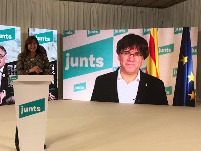 La candidata de Junts a les eleccions, Laura Borràs, i l'expte.C.Puigdemont