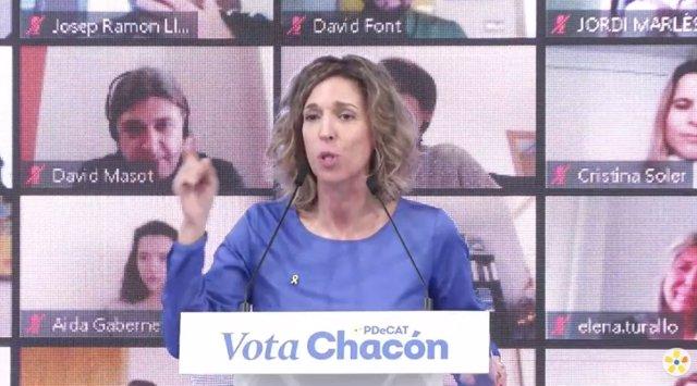La candidata del PDeCAT a les eleccions catalanes, Àngels Chacón, en l'acte central de campanya del partit