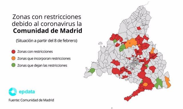 Zonas con restricciones para contener el coronavirus en la Comunidad de Madrid a partir del lunes 8 de febrero