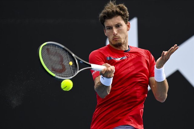 Pablo Carreno Busta of Spain in action during his first Round Men's singles match against Kei Nishikori of Japan on Day 1 of the Australian Open at Melbourne Park in Melbourne, Monday, February 8, 2021. (AAP Image/Dean Lewins) NO ARCHIVING, EDITORIAL USE