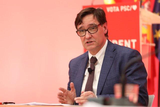 El candidat del PSC a les eleccions catalanes, Salvador Illa, durant un acte telemàtic de campanya.
