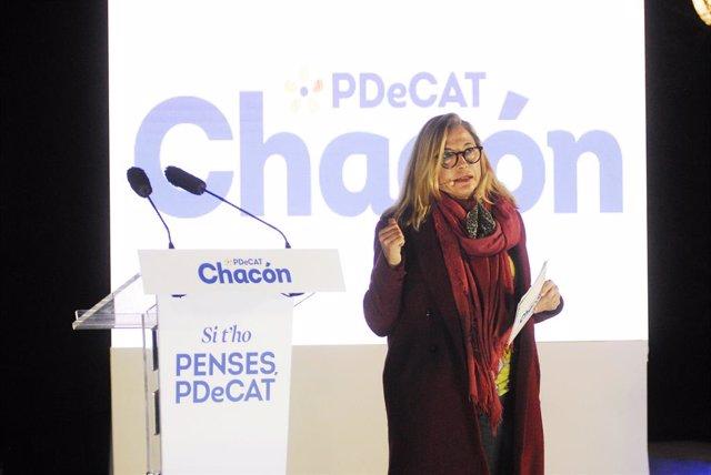 La número dos del PDeCAT a les eleccions, Joana Ortega, durant l'inici de campanya del partit, al Recinte Modernista Sant Pau de Barcelona. Catalunya (Espanya), 28 de gener del 2021.