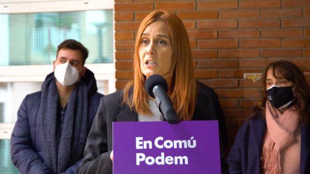La candidata dels comuns a la presidència de la Generalitat, Jéssica Albiach, en declaracions als mitjans a Tarragona.