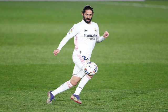 """Francisco """"Isco"""" Alarcon of Real Madrid in action during the spanish league, La Liga Santander, football match played between Real Madrid and Granada CF at Ciudad Deportiva Real Madrid on december 23, 2020, in Valdebebas, Madrid, Spain"""