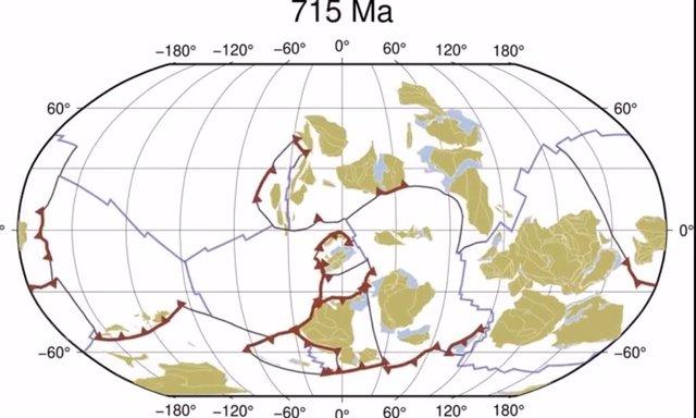 Evolución de la tectónica de placas desde hace mil millones de años hasta el presente.