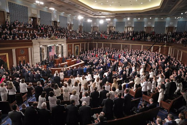 February 5, 2019 - Washington, DC, United States: United States President Donald J. Trump delivers his second annual State of the Union Address to a joint session of the US Congress in the US Capitol. (Alex Edelman / CNP/Contacto)