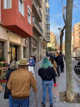 Cua a l'oficina de Correus per votar en les eleccions catalanes del 14 de febrer.