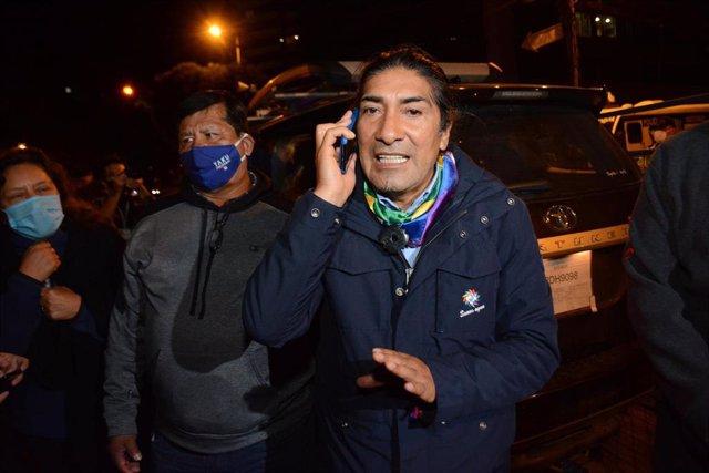 El candidato presidencial del movimiento indígena Pachakutik, Yaku Pérez