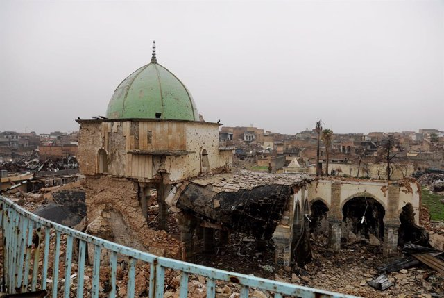 Los restos de la mezquita Al Nuri en Mosul en diciembre de 2018