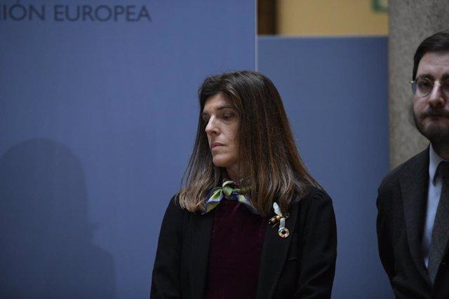 La nueva secretaria de Estado de Cooperación Internacional, Ángeles Moreno Bau, durante la toma de posesión de los secretarios de Estado de Asuntos Exteriores, para la Unión Europea, Cooperación Internacional y de la España Global, en el Patio Elcano del