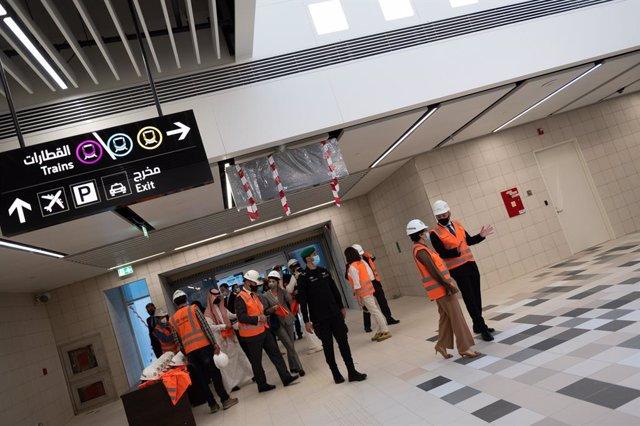 La ministra de Asuntos Exteriores, UE y Cooperación, Arancha González Laya, visita las obrars del Metro de Riad, en las que participa FCC