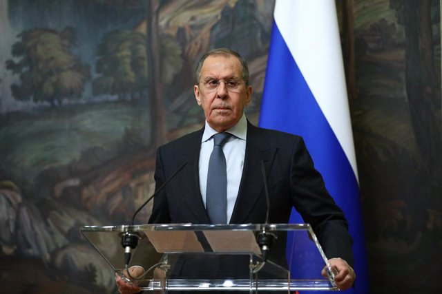 HANDOUT - 14 January 2021, Russia, Moscow: Russian Foreign Minister Sergey Lavrov and his Saudi counterpart Faisal bin Farhan al-Saud (not pictured) attend a joint press conference following their meeting. Photo: -/Russian Foreign Ministry/dpa - ATTENTION