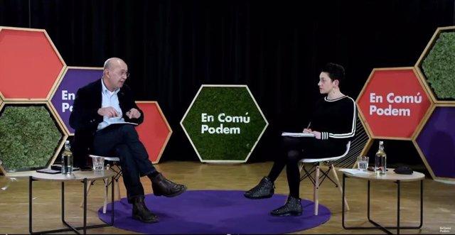 Aina Vidal i Joan Carles Gallego (comuns) en un acte telemàtic el 8 de febrer de 2021.