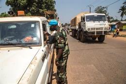 Un convoy con ayuda humanitaria en Bangui, República Centroafricana