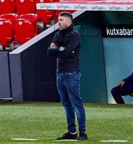 Eduardo Coudet, técnico del Celta, durante un partido
