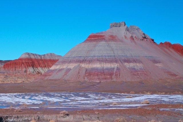 Las elevaciones con bandas coloridas son parte del miembro Blue Mesa, una característica geológica de entre 220 millones y 225 millones de años en la Formación Chinle en el Parque Nacional del Bosque Petrificado en Arizona.