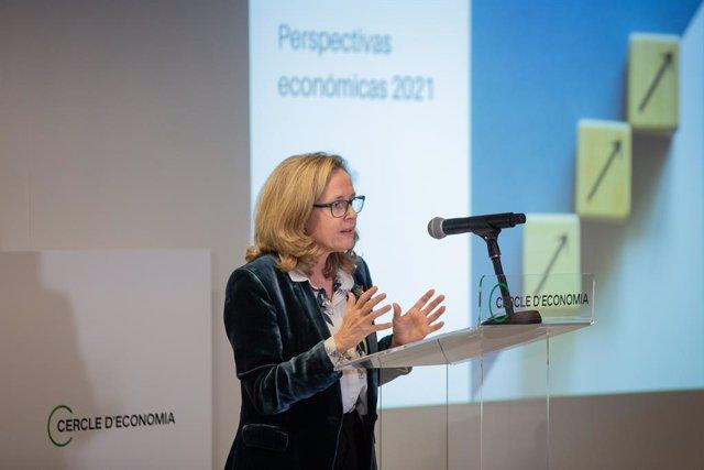 La ministra d'Afers Econòmics i Transformació Digital, Nadia Calviño, al Cerle d'Economia. Catalunya (Espanya), 8 de febrer del 2021.
