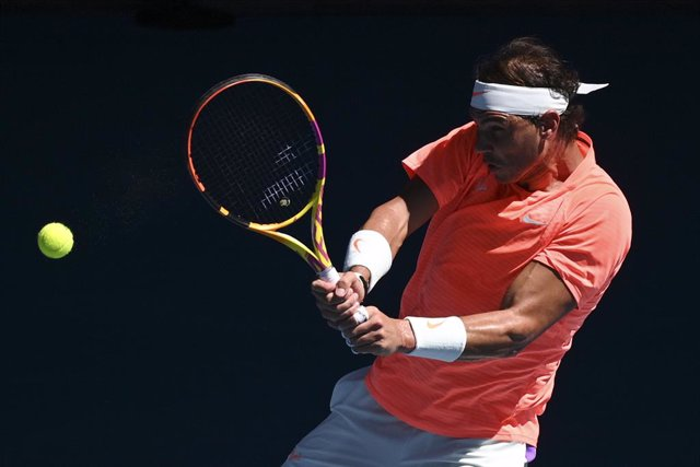 Rafael Nadal of Spain in action during his first Round Men's singles match against Laslo Djere of Serbia on Day 2 of the Australian Open at Melbourne Park in Melbourne, Tuesday, February 9, 2021. (AAP Image/Dean Lewins) NO ARCHIVING, EDITORIAL USE ONLY