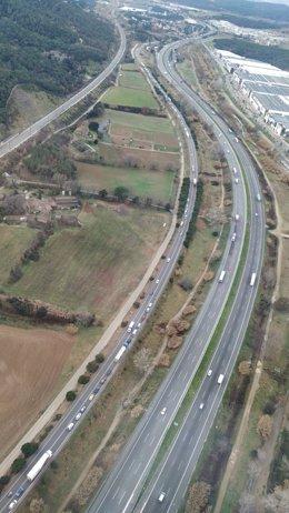 Imatge aèria de la carretera C-35