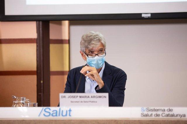 El secretari de Salut Pública de la Generalitat, Josep Maria Argimon, ofereix una roda de premsa a la Conselleria de la Salut sobre l'evolució de la pandèmia. Catalunya (Espanya),  22 de setembre del 2020.