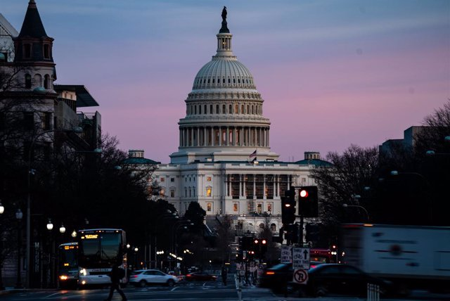 WASHINGTON, DC - FEBRUARY 08: The sunsets over the U.S. Capitol Building on Monday, Feb. 8, 2021 in Washington, DC. The Senate is scheduled to begin the second impeachment trial of former President Donald Trump on Feb. 9. (Kent Nishimura / Los Angeles Tim