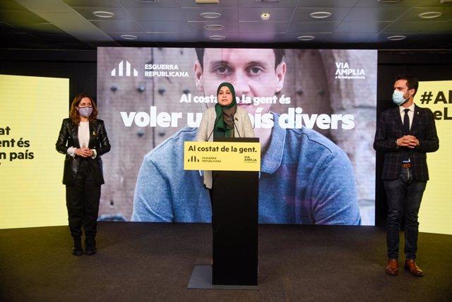 La número dos d'ERC a les eleccions catalanes, Laura Vilagrà, la número quatre, Najat Driouech, i el president del Parlament i número tres, Roger Torrent, en un acte de campanya telemàtic.