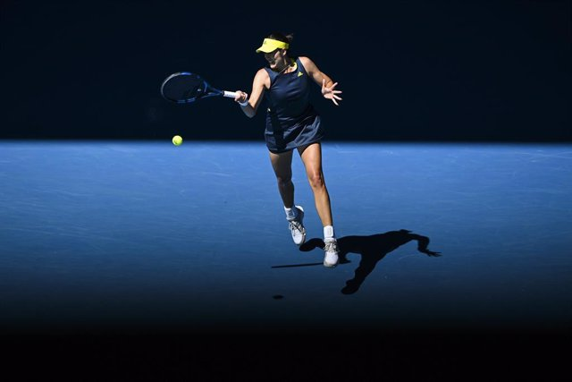 Garbine Muguruza of Spain in action during her first Round Women's singles match against Margarita Gasparyan of Russia on Day 2 of the Australian Open at Melbourne Park in Melbourne, Tuesday, February 9, 2021. (AAP Image/Dave Hunt) NO ARCHIVING, EDITORIAL