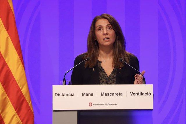 La consellera de Presidència i portaveu del Govern, Meritxell Budó, en una conferència de premsa telemàtica.
