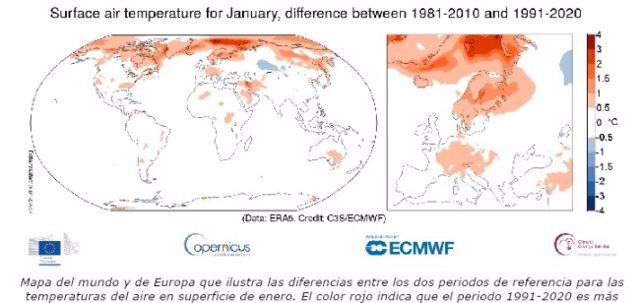 El mes de enero de 2021 ha sido el sexto más cálido en todo el mundo.