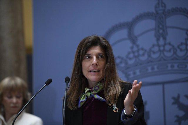 La nueva secretaria de Estado de Cooperación Internacional, Ángeles Moreno Bau, durante su intervención en la toma de posesión de los secretarios de Estado de Asuntos Exteriores, para la Unión Europea, Cooperación Internacional y de la España Global, en e