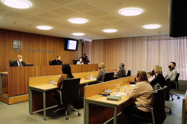 El ministro de Salud, Joan Martínez Benazet, comparece delante la comisión legislativa de sanidad.