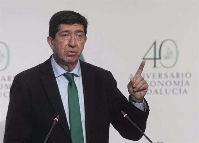 El vicepresidente de la Junta de Andalucía, Juan Marín,  durante la rueda de prensa posterior a la reunión del Consejo de Gobierno de la Junta de Andalucía. En el Palacio de San Telmo, Sevilla (Andalucía, España), a 09 de febrero de 2021.