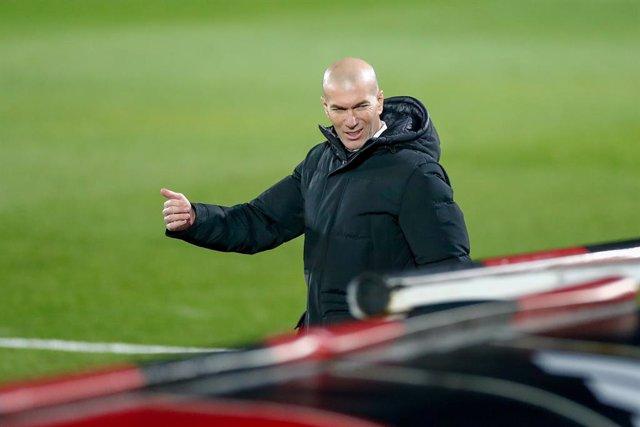 Zinedine Zidane, head coach of Real Madrid, gestures during the spanish league, La Liga Santander, football match played between Real Madrid and Granada CF at Ciudad Deportiva Real Madrid on december 23, 2020, in Valdebebas, Madrid, Spain