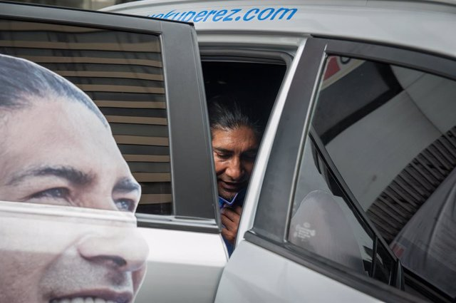 08 February 2021, Ecuador, Quito: Indigenous environmental activist Yaku Perez arrives for a press conference at the Swissotel Hotel a day after the presidential election. Photo: Juan Diego Montenegro/dpa