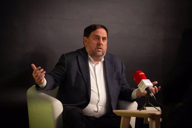 El líder de ERC y exvicepresidente del Govern de la Generalitat, Oriol Junqueras, durante una entrevista para Europa Press, en Barcelona, Catalunya (España), a 9 de febrero de 2021. La entrevista se produce días antes de la celebración de las elecciones c