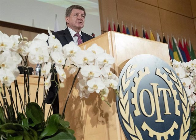 HANDOUT - 10 June 2019, Switzerland, Geneva: Guy Ryder, Director-General of the International Labour Organization, delivers a speech at the 108th Session of the International Labour Conference. Photo: Jean Marc Ferré/UN Geneva/dpa - ATTENTION: editorial u