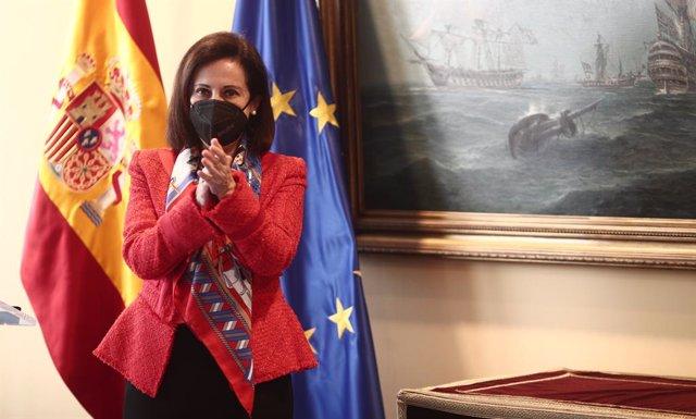 La ministra de Defensa, Margarita Robles, durante el acto de reconocimiento a la Asociación de Periodistas de Defensa, en el Ministerio de Defensa, Madrid, (España), a 5 de febrero de 2021. El acto se realiza en representación de todos los profesionales d
