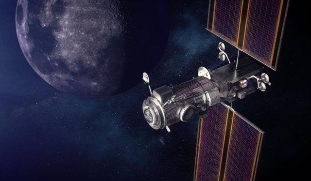 Una ilustración del elemento de propulsión y energía de la Puerta de enlace y del puesto avanzado de vivienda y logística en órbita alrededor de la Luna.