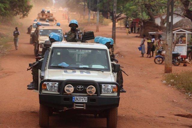 Militares de la Misión Unidimensional Integrada de Naciones Unidas para la Estabilización en República Centroafricana (MINUSCA)