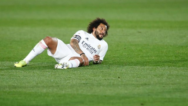 Marcelo Vieira of Real Madrid laments during the spanish league, La Liga Santander, football match played between Real Madrid and Getafe CF at Ciudad Deportiva Real Madrid on february 09, 2021, in Valdebebas, Madrid, Spain.