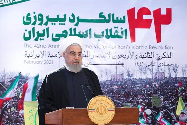 El presidente de Irán, Hasán Rohani, durante un acto por el 42º aniversario de la Revolución Islámica