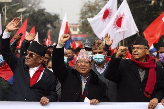 Imagen de las protestas en Nepal.