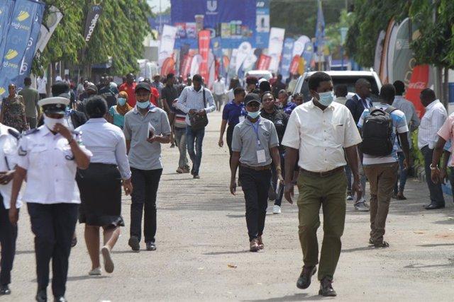 Feria comercial celebrada en julio de 2020 en Dar es Salaam, Tanzania.
