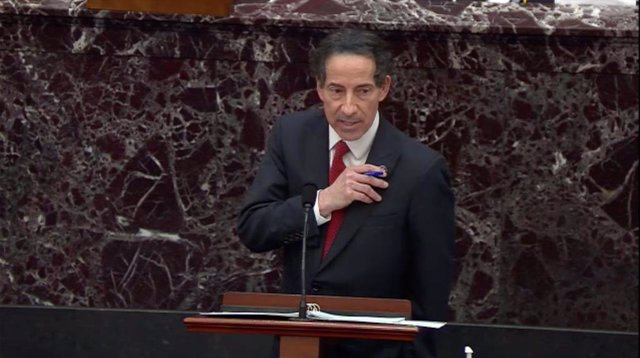February 9, 2021 - Washington, DC, United States: United States Representative Jamie Raskin (Democrat of Maryland), the lead US House manager, shows his members' pin as he describes his and his family's experiences as the insurrection in the US Capitol wa
