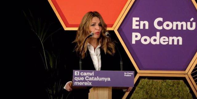 La ministra de Treball i Economia Social, Yolanda Díaz, en un míting telemàtic d'En Comú Podem.