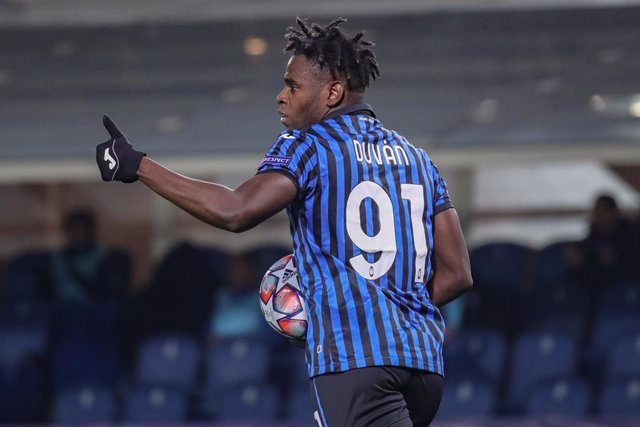 27 October 2020, Italy, Bergamo: Atalanta's Duvan Zapata celebrates scoring during the UEFA Champions League Group D soccer match between Atalanta and Ajax at the Gewiss Stadium. Photo: Stefano Nicoli/LaPresse via ZUMA Press/dpa