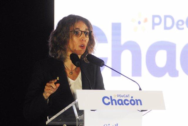 La candidata del PdeCAT a la Presidència de la Generalitat, Àngels Chacón intervé durant l'inici de campanya del PDeCAT, en el Recinte Modernista Sant Pau, a Barcelona, Catalunya (Espanya), a 28 de gener de 2021. El PDeCAT, després de la seva ruptura amb