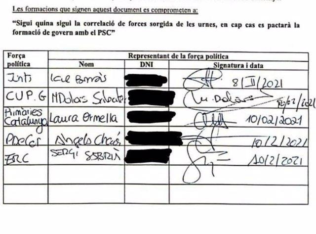Document signat per Junts, ERC, PDeCAT, CUP i Primàries pel qual es comprometen a no pactar amb el PSC
